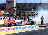Apr 12, 2015; Las Vegas, NV, USA; NHRA top fuel driver J.R. Todd during the Summitracing.com Nationals at The Strip at Las Vegas Motor Speedway. Mandatory Credit: Mark J. Rebilas-