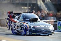 Jun. 15, 2012; Bristol, TN, USA: NHRA funny car driver Tony Pedregon during qualifying for the Thunder Valley Nationals at Bristol Dragway. Mandatory Credit: Mark J. Rebilas-