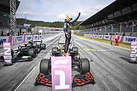 July 4th 2021;  Red Bull Ring, Spielberg, Austria; F1 Grand Prix of Austria, race day;   F1 Grand Prix of Austria 33 Max Verstappen NED, Red Bull Racing celebrates his win in parc ferme at the F1 Grand Prix of Austria at Red Bull Ring