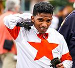 July 17, 2021: Jockey Ricardo Santana Jr. before a race on opening weekend at Saratoga Race Course in Saratoga Springs, N.Y. on July 17, 2021. Dan Heary/Eclipse Sportswire/CSM