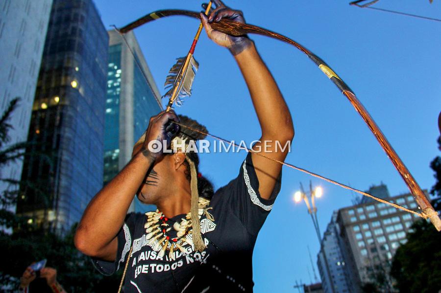 Manifestaçao Dia de Mobilização Nacional Indígena. Avenida Paulista, Sao Paulo. 31.01.2019. Foto Lineu Kohatsu