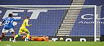 26.12.2020 Rangers v Hibs: Allan McGregor saves low down from a Melker Hallberg shot