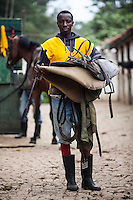 Jockey James Muhindi at Ngong Racecourse in Nairobi, Kenya. March 13, 2013. Photo: Brendan Bannon