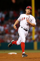Peter Bourjos #25 of the Los Angeles Angels runs the bases during a game against the Pittsburgh Pirates at Angel Stadium on June 21, 2013 in Anaheim, California. (Larry Goren/Four Seam Images)