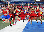 Southern Methodist Mustangs fans watch the action during the game between the University of Houston Cougars and the Southern Methodist Mustangs at the Gerald J. Ford Stadium in Dallas, Texas. SMU defeats Houston 72 to 42....