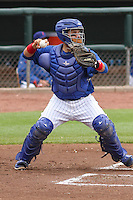 Iowa Cubs catcher Rafael Lopez (29) throws down to second base during a Pacific Coast League game against the Colorado Springs Sky Sox on May 11th, 2015 at Principal Park in Des Moines, Iowa.  Colorado Springs defeated Iowa 13-7.  (Brad Krause/Four Seam Images)