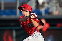 Williamsport Crosscutters third baseman Lucas Williams (12) at bat during a game against the Auburn Doubledays on June 25, 2016 at Falcon Park in Auburn, New York.  Auburn defeated Williamsport 5-4.  (Mike Janes/Four Seam Images)