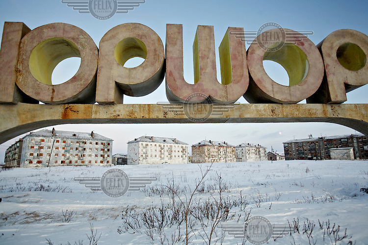 A sign for the abandoned village of Yor Shor. Established beyond the Arctic Circle where temperatures in winter drop to -50. Most of its population left after the closure of its Soviet-era coal mine. /Felix Features