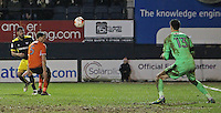 Matt Macey of Luton Town saves a shot from Kane Hemmings of Oxford United during the The Checkatrade Trophy Semi Final match between Luton Town and Oxford United at Kenilworth Road, Luton, England on 1 March 2017. Photo by Stewart  Wright  / PRiME Media Images.