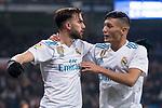 Real Madrid Borja Mayoral and Oscar Rodriguez celebrating a goal during return match of King's Cup between Real Madrid and Fuenlabrada at Santiago Burnabeu Stadium in Madrid, Spain. November 28, 2017. (ALTERPHOTOS/Borja B.Hojas)