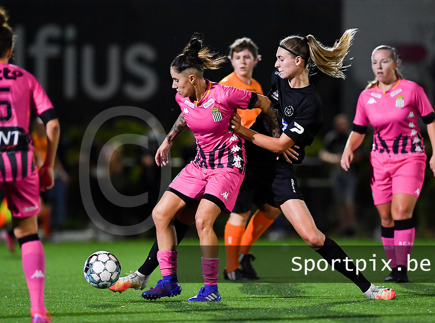 forward Ylenia Carabott of Sporting Charleroi pictured with Woluwe's Marie Bougard (10) during a female soccer game between Sporting Charleroi and FC Femina White Star Woluwe on the second matchday of the 2020 - 2021 season of Belgian Scooore Women s SuperLeague , friday 4 th of September 2020  in Marcinelle , Belgium . PHOTO SPORTPIX.BE | SPP | DAVID CATRY