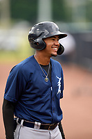 FCL Tigers East Pedro Martinez Jr. (45) laughs during a game against the FCL Yankees on July 27, 2021 at the Yankees Minor League Complex in Tampa, Florida. (Mike Janes/Four Seam Images)