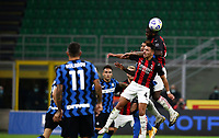 Calcio, Serie A: Inter Milano - AC Milan , Giuseppe Meazza (San Siro) stadium, in Milan, October 17, 2020.<br /> Milan's Franck Kessie (top) in action during the Italian Serie A football match between Inter and Milan at Giuseppe Meazza (San Siro) stadium, October 17,  2020.<br /> UPDATE IMAGES PRESS/Isabella Bonotto