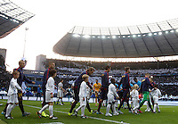 Calcio, finale di Champions League Juventus vs Barcellona all'Olympiastadion di Berlino, 6 giugno 2015.<br /> Barcelona and Juventus players arrive for the Champions League football final between Juventus Turin and FC Barcelona, at Berlin's Olympiastadion, 6 June 2015. Barcelona won 3-1.<br /> UPDATE IMAGES PRESS/Isabella Bonotto