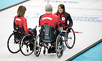Ina Forrest, Jim Armstrong, and Sonja Gaudet, Sochi 2014 - Wheelchair Curling // Curling en fauteuil roulant.<br />