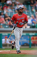 Rochester Red Wings third baseman Miguel Sano (44) runs to first base during a game against the Indianapolis Indians on July 24, 2018 at Victory Field in Indianapolis, Indiana.  Rochester defeated Indianapolis 2-0.  (Mike Janes/Four Seam Images)