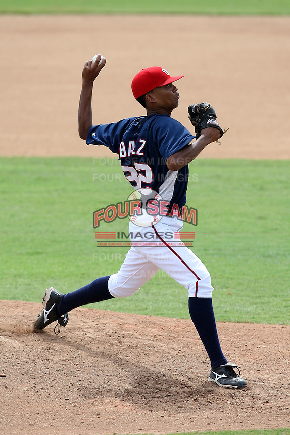 October 5, 2009:  Pitcher Gregori Baez of the Washington Nationals organization during an Instructional League game at Space Coast Stadium in Viera, FL.  Photo by:  Mike Janes/Four Seam Images