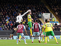 2nd October 2021;  Turf Moor, Burnley, Lancashire, England; Premier League football, Burnley versus Norwich City: Burnley goalkeeper Nick Pope leaps to punch the ball clear