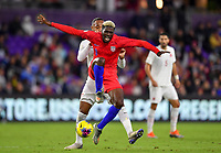 ORLANDO, FL - NOVEMBER 15: Gyasi Zardes #9 of the United States appears to be fouled during a game between Canada and USMNT at Exploria Stadium on November 15, 2019 in Orlando, Florida.