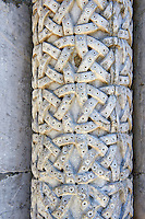 Late medieval relief sculptures of a Lombard style column, the Cattedrale di San Martino,  Duomo of Lucca, Tunscany, Italy,