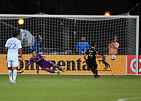LAKE BUENA VISTA, FL - JULY 18: Diego Rossi #9 of LAFC misdirects David Bingham #1 of LA Galaxy to score on a penalty shot during a game between Los Angeles Galaxy and Los Angeles FC at ESPN Wide World of Sports on July 18, 2020 in Lake Buena Vista, Florida.