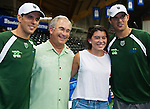 Bob and Mike Bryan pose with sportscaster Michael Barkann and his daughter at the Freedoms vs. Explorers WTT match in Villanova, PA on July 16, 2012