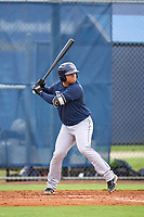 Tampa Bay Rays Julio Meza bats during an Extended Spring Training intrasquad game on June 15, 2021 at Charlotte Sports Park in Port Charlotte, Florida.  (Mike Janes/Four Seam Images)