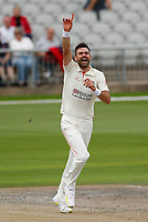 5th July 2021; Emirates Old Trafford, Manchester, Lancashire, England; County Championship Cricket, Lancashire versus Kent, Day 2; James Anderson of Lancashire celebrates another wicket to give him figures of 7-19 in ten overs, his best ever first class return, including his 1,00th first class wicket