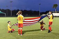 Lakewood Ranch, FL - Wednesday, October 10, 2018:   Banner girls during a U-17 USWNT match against Colombia.  The U-17 USWNT defeated Colombia 4-1.