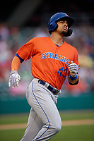 Syracuse Mets Aaron Altherr (43) during an International League game against the Indianapolis Indians on July 16, 2019 at Victory Field in Indianapolis, Indiana.  Syracuse defeated Indianapolis 5-2  (Mike Janes/Four Seam Images)