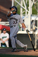 Mahoning Valley Scrappers catcher Diego Seastrunk (37) hits a home run during a game vs. the Jamestown Jammers at Russell Diethrick Park in Jamestown, New York June 20, 2010.   Mahoning Valley defeated Jamestown 9-2.  Photo By Mike Janes/Four Seam Images