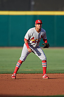 Palm Beach Cardinals shortstop Rayder Ascanio (3) during a Florida State League game against the Lakeland Flying Tigers on April 17, 2019 at Publix Field at Joker Marchant Stadium in Lakeland, Florida.  Lakeland defeated Palm Beach 1-0.  (Mike Janes/Four Seam Images)
