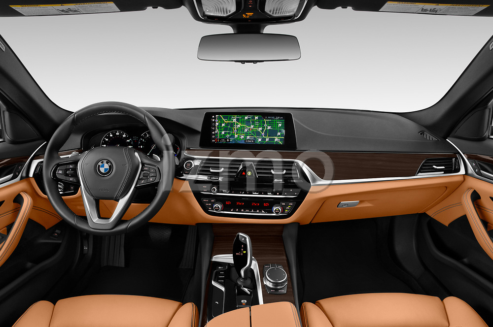 Stock photo of straight dashboard view of 2019 BMW 5-Series 530I-Sport-Line 4 Door Sedan Dashboard
