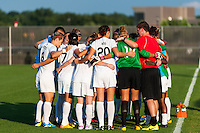 Washington Spirit players huddle before the start of the match. Sky Blue FC defeated the Washington Spirit 1-0 during a National Women's Soccer League (NWSL) match at Yurcak Field in Piscataway, NJ, on August 3, 2013.