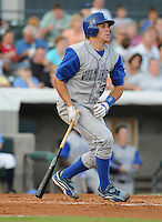 July 7, 2008: Catcher Matt Morizio (32) of the Wilmington Blue Rocks, Class A affiliate of the Kansas City Royals, in a game against the Myrtle Beach Pelicans at BB&T Coastal Field in Myrtle Beach, S.C. Photo by:  Tom Priddy/Four Seam Image