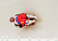 4 December 2015: Peter Penz and Georg Fischler, sliding for Austria, bank into a turn on their first run of the Doubles Competition during the Viessmann Luge World Cup Series at the Olympic Sports Track in Lake Placid, New York, USA. The Austrian team posted a combined time of 1:27.965 to take second place in the Doubles Competition. Mandatory Credit: Ed Wolfstein Photo *** RAW (NEF) Image File Available ***