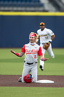 Ohio State Buckeyes second baseman Colton Bauer (8) questions the umpire after being called out against the Michigan Wolverines on April 9, 2021 in NCAA baseball action at Ray Fisher Stadium in Ann Arbor, Michigan. Ohio State beat the Wolverines 7-4. (Andrew Woolley/Four Seam Images)