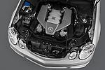 High angle engine detail of a  2009 Mercedes E63 AMG Wagon.