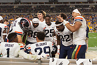 Virginia safety Joey Blount gets congratulations from teammates after making an interception. The Virginia Cavaliers defeated the Pitt Panthers 30-14 in a football game at Heinz Field, Pittsburgh, Pennsylvania on August 31, 2019.