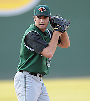 Pitcher Ryan Bradley (26) of the Augusta GreenJackets, Class A affiliate of the San Francisco Giants, in a game against the Greenville Drive on April 10, 2011, at Fluor Field at the West End in Greenville, S.C. Photo by Tom Priddy / Four Seam Images