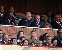 Former USA president Bill Clinton (left) and Joseph Blatter of FIFA watch the USA v Algeria game. USA defeated Algeria 1-0 in stoppage time in the 2010 FIFA World Cup at Loftus Versfeld Stadium in Pretoria, Sourth Africa, on June 23th, 2010.