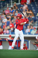 Williamsport Crosscutters left fielder Josh Stephen (2) at bat during a game against the Mahoning Valley Scrappers on July 8, 2017 at BB&T Ballpark at Historic Bowman Field in Williamsport, Pennsylvania.  Williamsport defeated Mahoning Valley 6-1.  (Mike Janes/Four Seam Images)