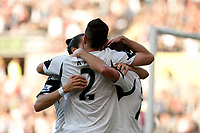 Saturday 19 October 2013 Pictured: Swansea city team mates celebrate <br /> Re: Barclays Premier League Swansea City vSunderland at the Liberty Stadium, Swansea, Wales