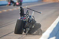 Oct 4, 2020; Madison, Illinois, USA; NHRA top dragster driver Phil Oakley crashes into the wall during the Midwest Nationals at World Wide Technology Raceway. Oakley was alert and transported to a hospital for evaluation. Mandatory Credit: Mark J. Rebilas-USA TODAY Sports