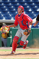 Philadelphia Phillies catcher Logan Moore #5 during an Instructional League game against the Pittsburgh Pirates at Bright House Field on October 13, 2011 in Clearwater, Florida.  (Mike Janes/Four Seam Images)