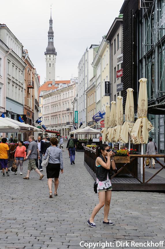 Rathausturm, Viru-Str. in Tallinn (Reval), Estland, Europa, Unesco-Weltkulturerbe