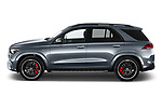 Car Driver side profile view of a 2021 Mercedes Benz GLE AMG-63-S 5 Door SUV Side View