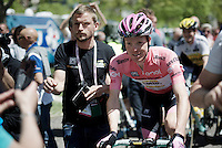 maglia rosa Steven Kruijswijk (NLD/LottoNL-Jumbo) escorted to the start<br /> <br /> stage 17: Molveno-Cassano d'Adda 196km<br /> 99th Giro d'Italia 2016