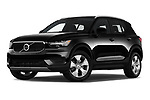 Stock pictures of low aggressive front three quarter view of 2020 Volvo XC40 Momentum 5 Door SUV Low Aggressive