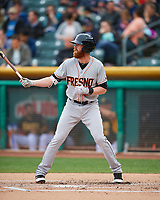 Colin Moran (8) of the Fresno Grizzlies at bat against the Salt Lake Bees in Pacific Coast League action at Smith's Ballpark on April 17, 2017 in Salt Lake City, Utah. The Bees defeated the Grizzlies 6-2. (Stephen Smith/Four Seam Images)